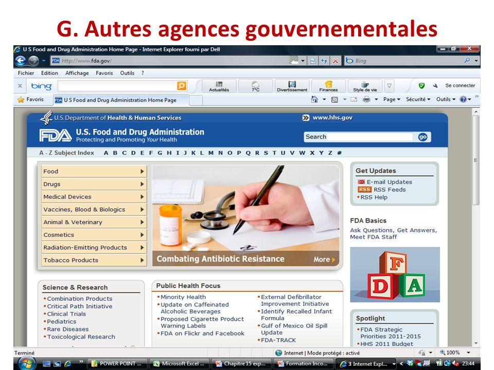 G. Autres agences gouvernementales