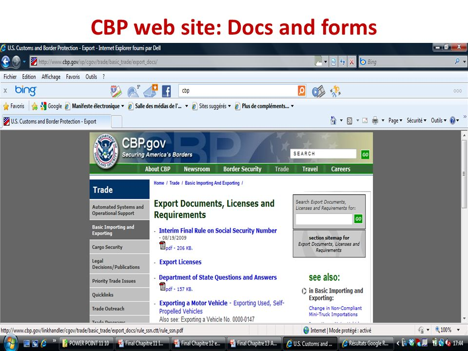 CBP web site: Docs and forms