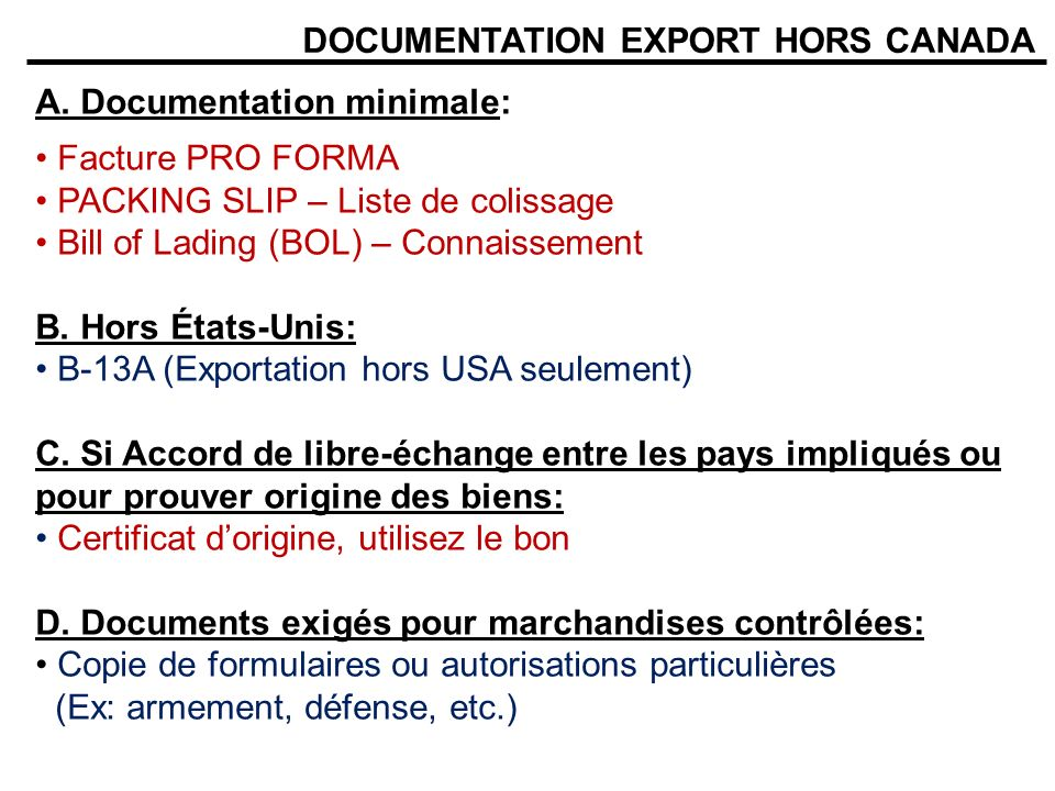 DOCUMENTATION EXPORT HORS CANADA E.