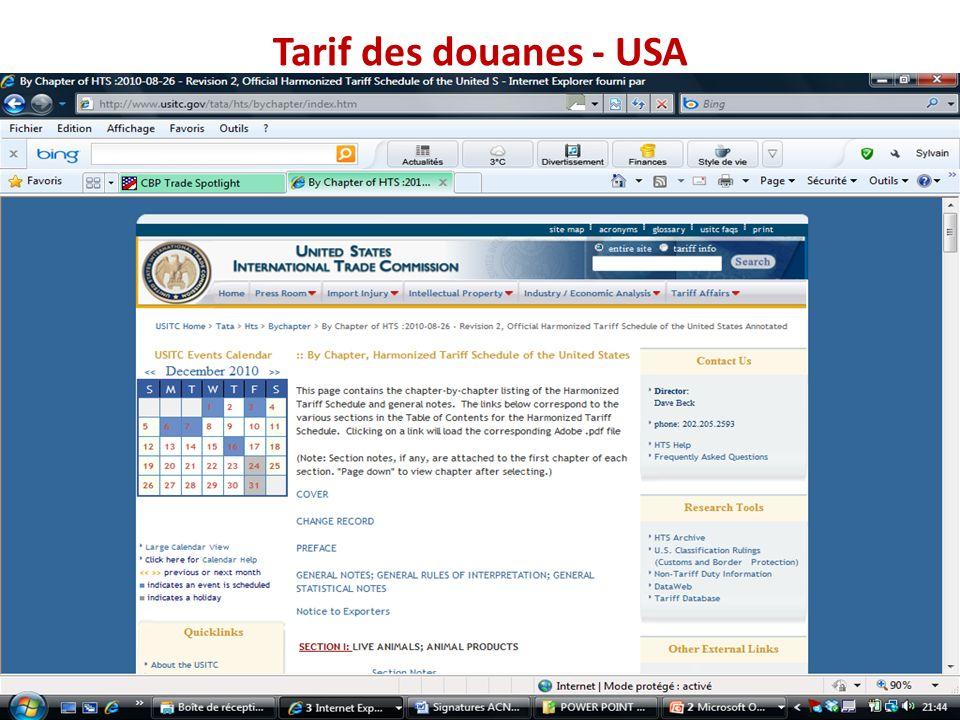 Tarif des douanes - USA
