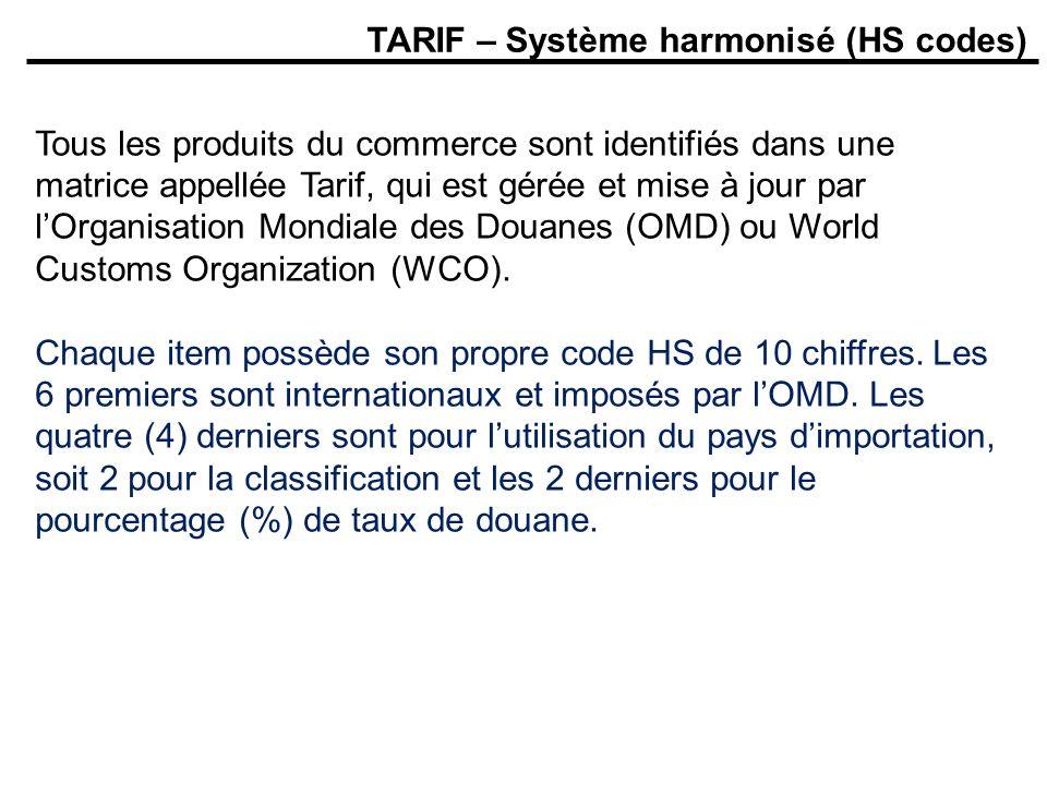 TARIF – Système harmonisé (HS codes) Tous les produits du commerce sont identifiés dans une matrice appellée Tarif, qui est gérée et mise à jour par l