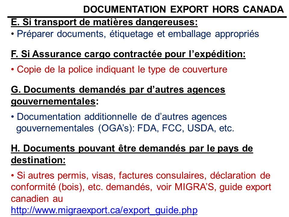 DOCUMENTATION EXPORT HORS CANADA E. Si transport de matières dangereuses: Préparer documents, étiquetage et emballage appropriés F. Si Assurance cargo