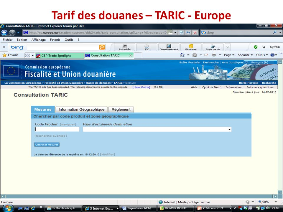 Tarif des douanes – TARIC - Europe