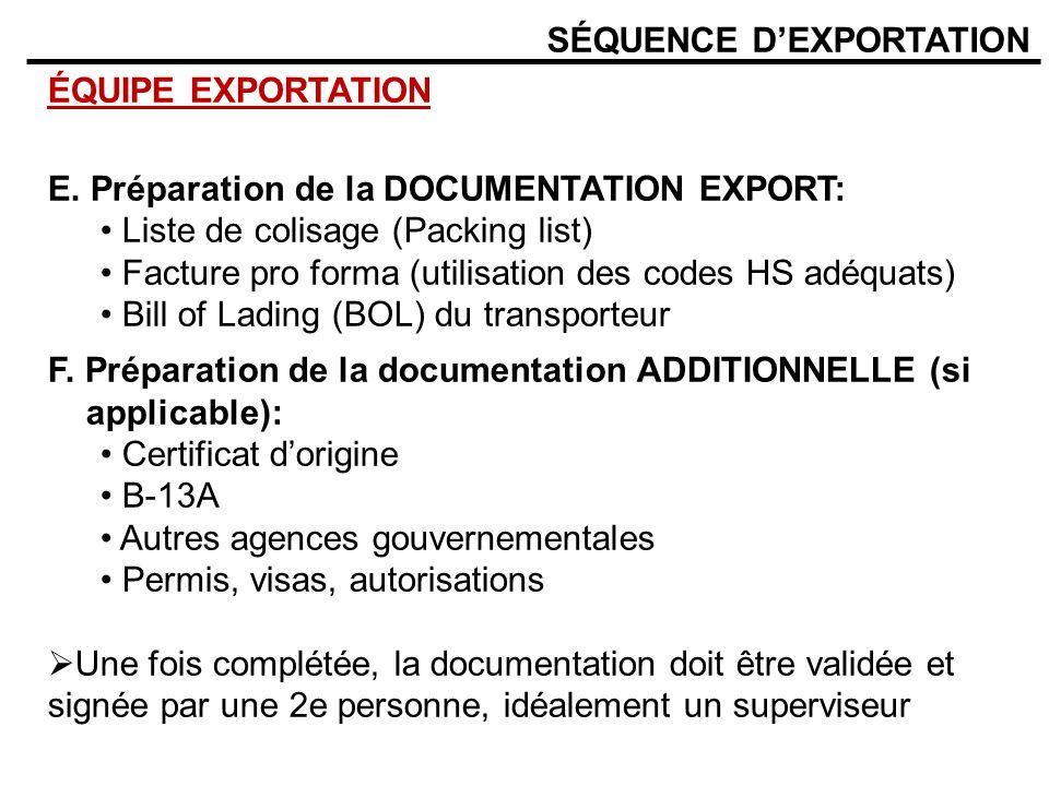 SÉQUENCE DEXPORTATION ÉQUIPE EXPORTATION E. Préparation de la DOCUMENTATION EXPORT: Liste de colisage (Packing list) Facture pro forma (utilisation de