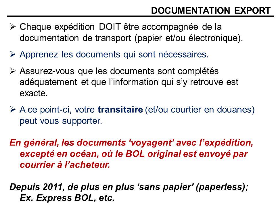 DOCUMENTATION EXPORT Chaque expédition DOIT être accompagnée de la documentation de transport (papier et/ou électronique). Apprenez les documents qui