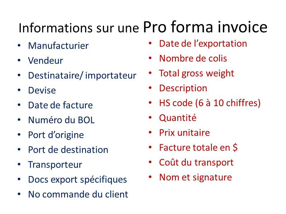 Informations sur une Pro forma invoice Manufacturier Vendeur Destinataire/ importateur Devise Date de facture Numéro du BOL Port dorigine Port de dest