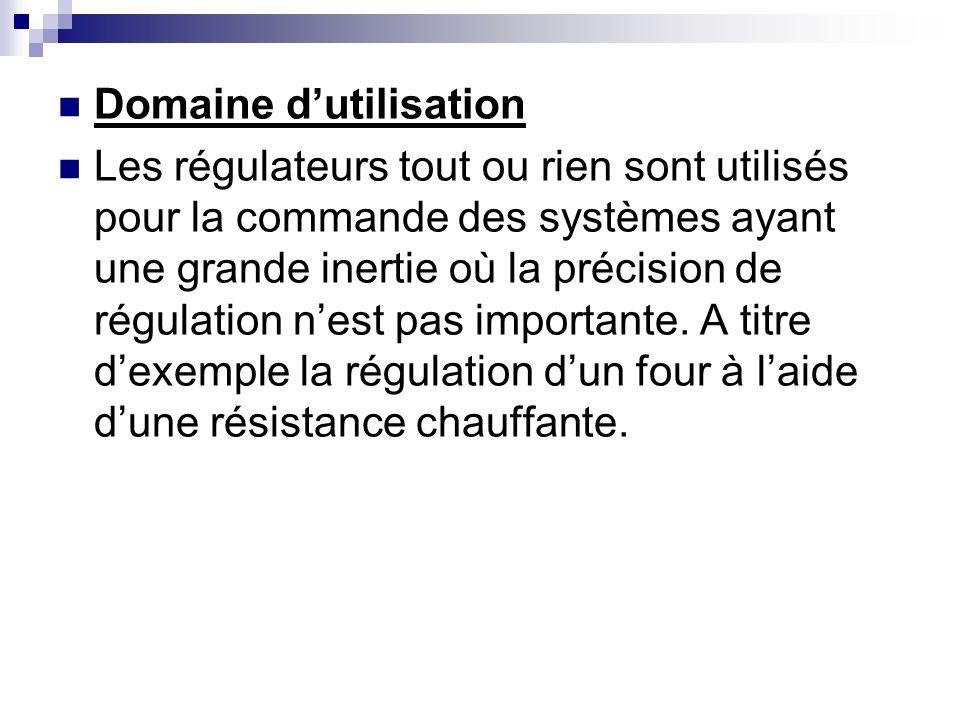 Fonctionnement dun régulateur «tout ou rien» Dans ce type de régulateur, la commande U du correcteur agit sur un relais électromécanique à contact.