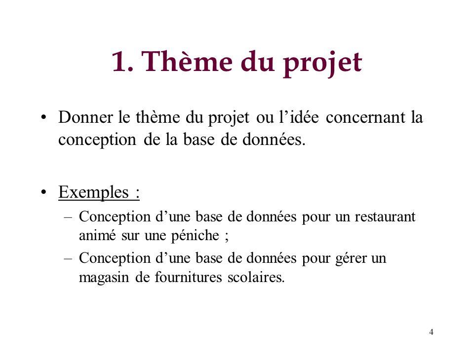 4 1. Thème du projet Donner le thème du projet ou lidée concernant la conception de la base de données. Exemples : –Conception dune base de données po