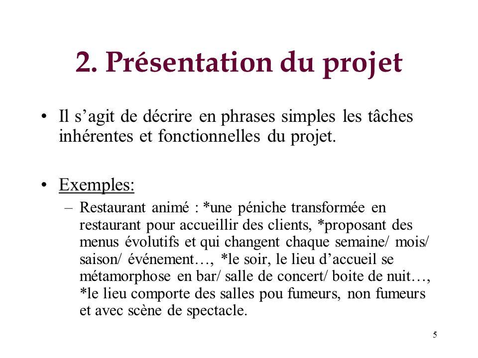 5 2. Présentation du projet Il sagit de décrire en phrases simples les tâches inhérentes et fonctionnelles du projet. Exemples: –Restaurant animé : *u