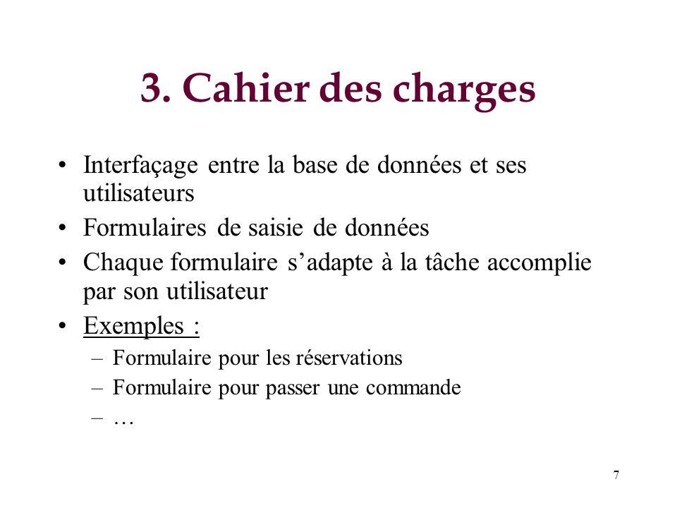 7 3. Cahier des charges Interfaçage entre la base de données et ses utilisateurs Formulaires de saisie de données Chaque formulaire sadapte à la tâche