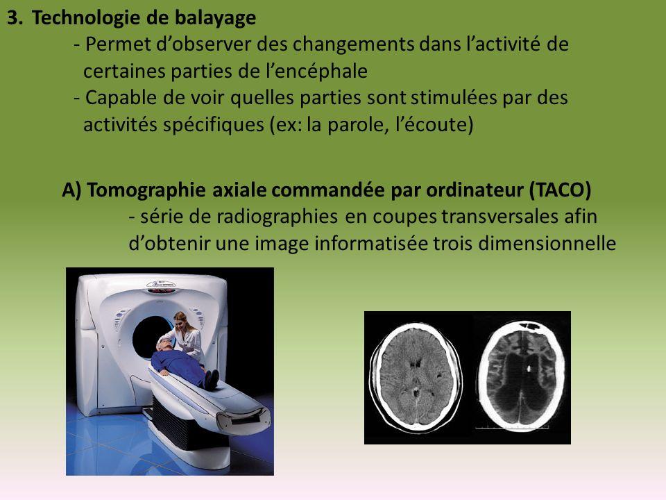 3.Technologie de balayage - Permet dobserver des changements dans lactivité de certaines parties de lencéphale - Capable de voir quelles parties sont
