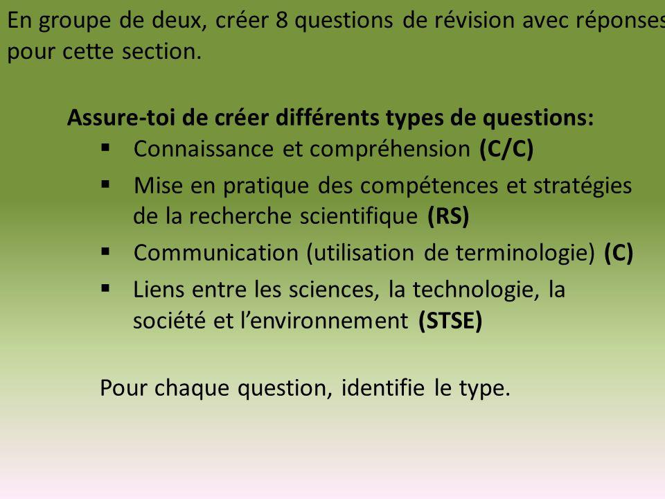 En groupe de deux, créer 8 questions de révision avec réponses pour cette section. Assure-toi de créer différents types de questions: Connaissance et