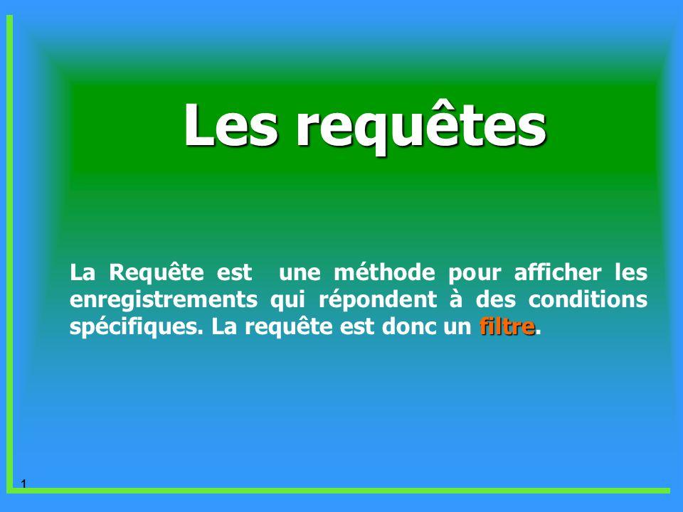 1 Les requêtes filtre La Requête est une méthode pour afficher les enregistrements qui répondent à des conditions spécifiques. La requête est donc un