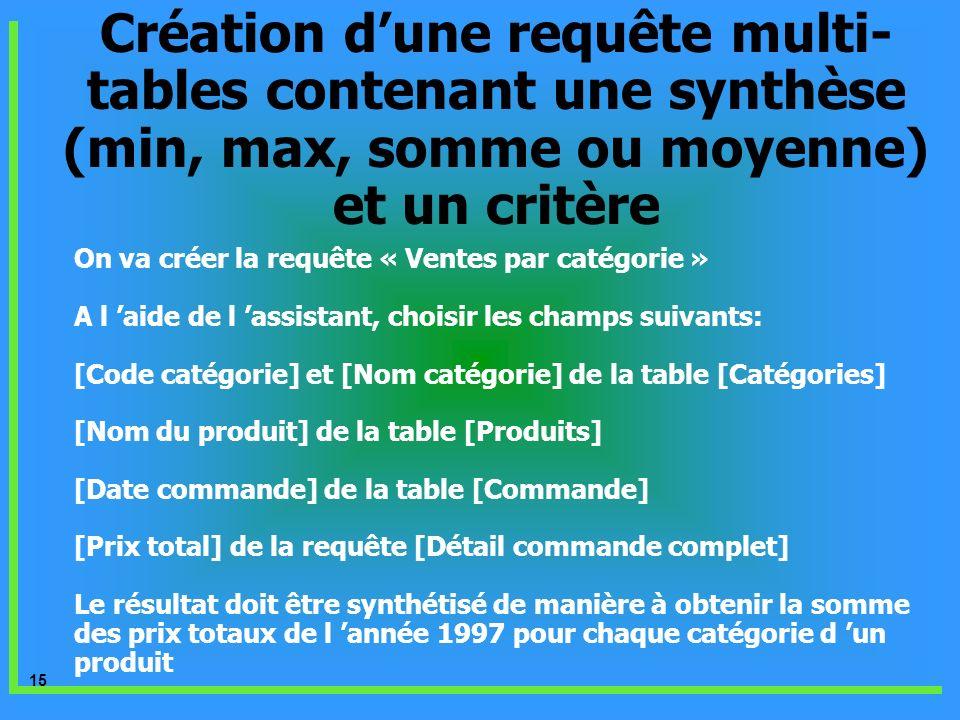 15 Création dune requête multi- tables contenant une synthèse (min, max, somme ou moyenne) et un critère On va créer la requête « Ventes par catégorie