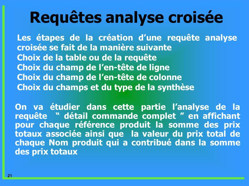 21 Requêtes analyse croisée Les étapes de la création dune requête analyse croisée se fait de la manière suivante Choix de la table ou de la requête C