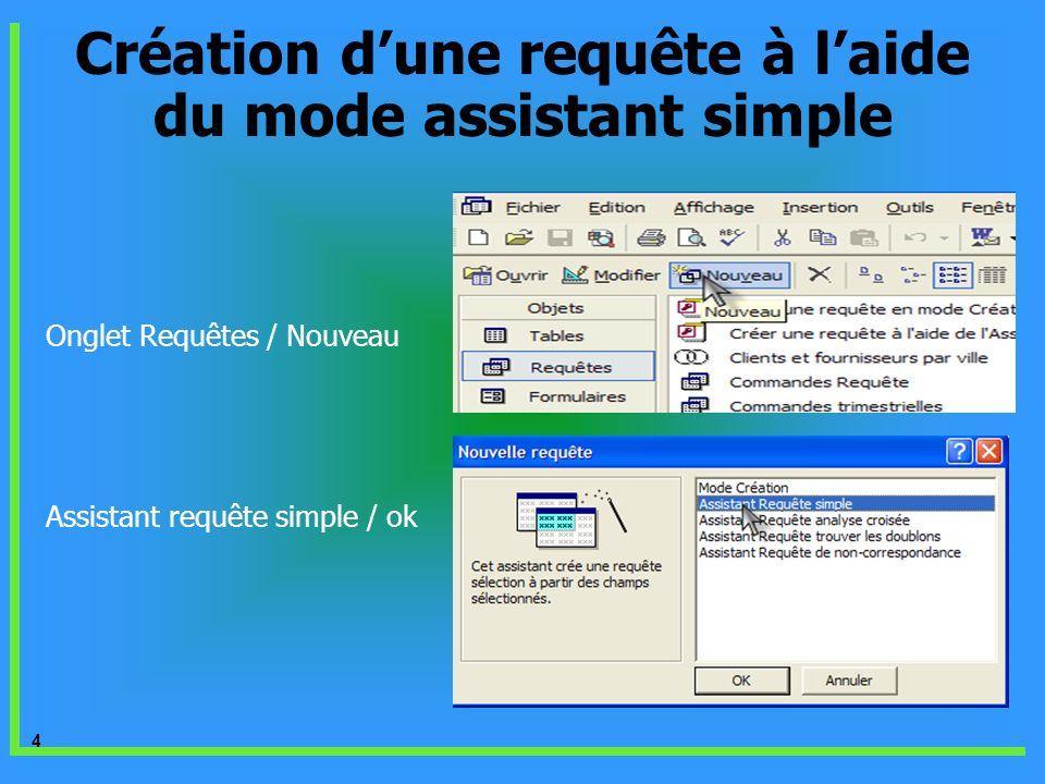 4 Onglet Requêtes / Nouveau Assistant requête simple / ok Création dune requête à laide du mode assistant simple