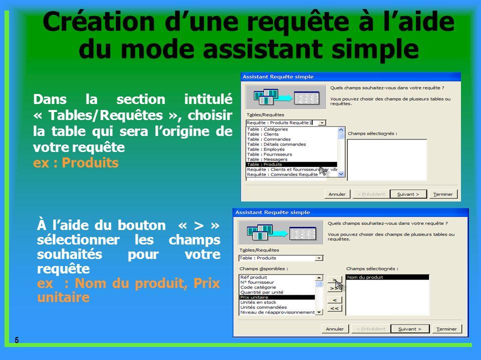 16 Dans létape suivante, apparaît une boite de dialogue qui invite de choisir entre requête détaillée ou une synthèse : choisir synthèse en cliquant sur le bouton Option de synthèse Création dune requête multi- tables contenant une synthèse et un critère