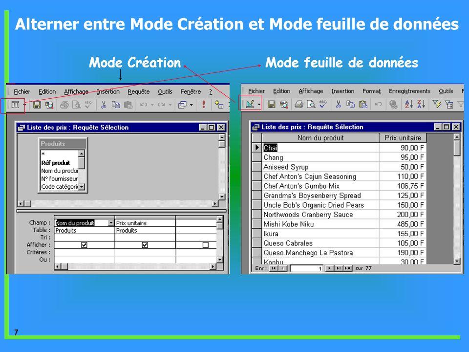 8 A l aide du mode création vous créer la requête suivante : « Liste des produits courants » Lobjectif est de définir dans la table «Produits» les produit existant dans le stock dont la valeur du champ «Indisponible» soit égale à « Non » Création dune requête à laide du mode Création