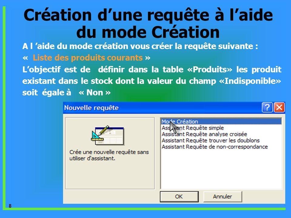 9 A laide du bouton Ajouter choisir la table « Produits » Création dune requête à laide du mode Création