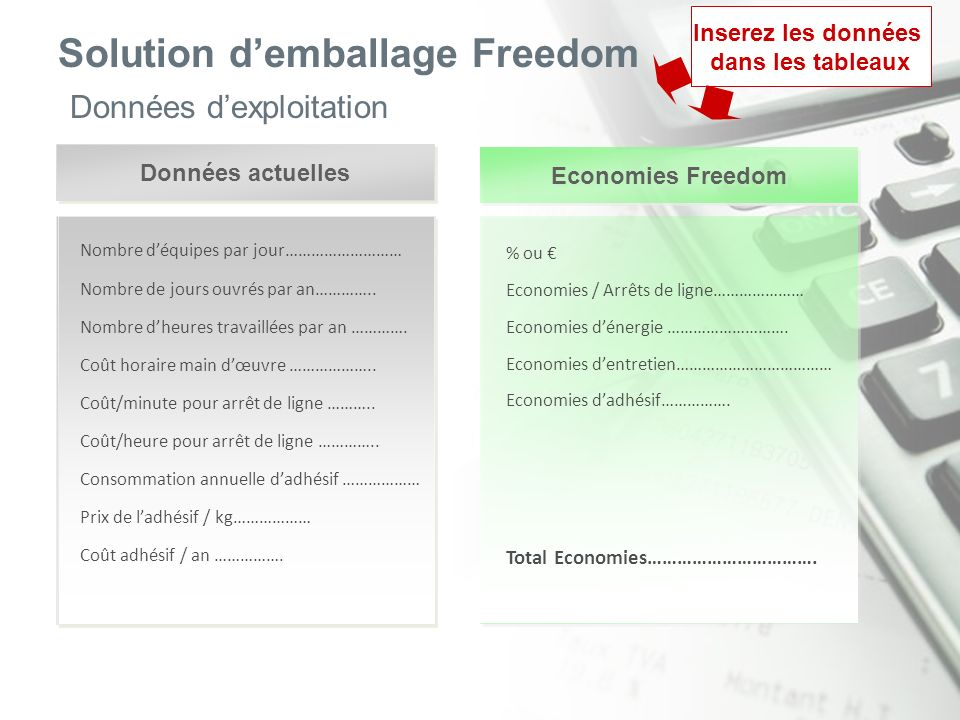Solution demballage Freedom Données dexploitation Données actuelles Economies Freedom Nombre déquipes par jour……………………… Nombre de jours ouvrés par an…