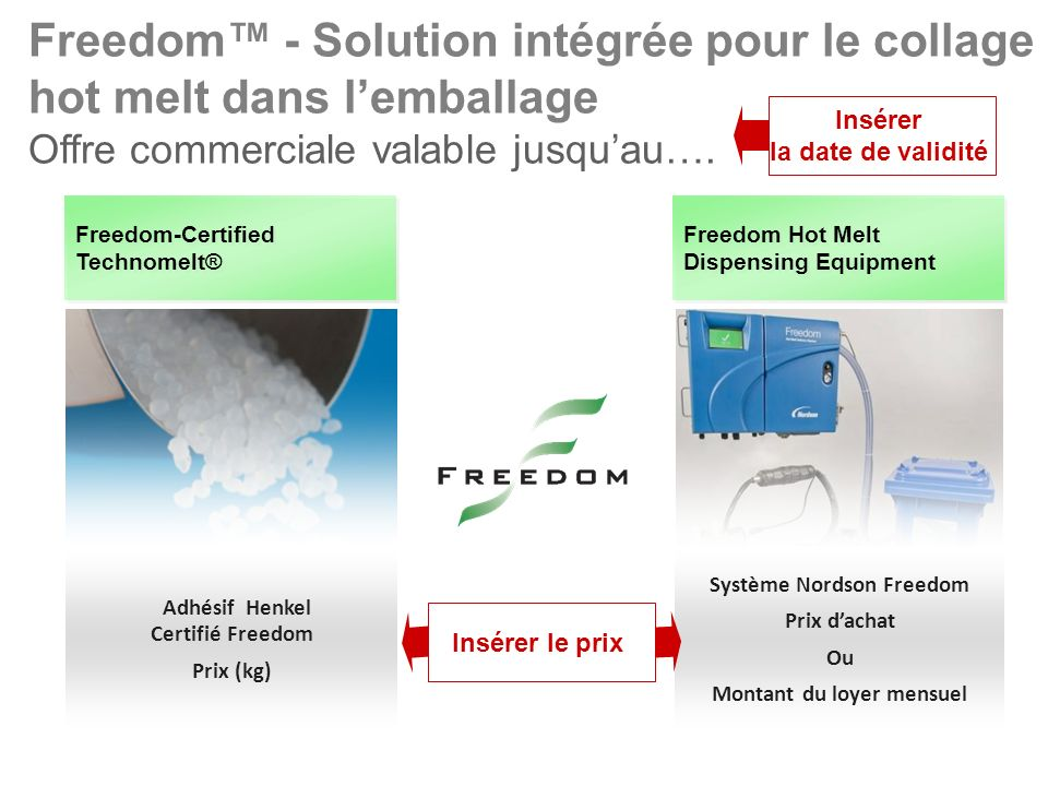 Freedom-Certified Technomelt® Freedom Hot Melt Dispensing Equipment Freedom - Solution intégrée pour le collage hot melt dans lemballage Offre commerc