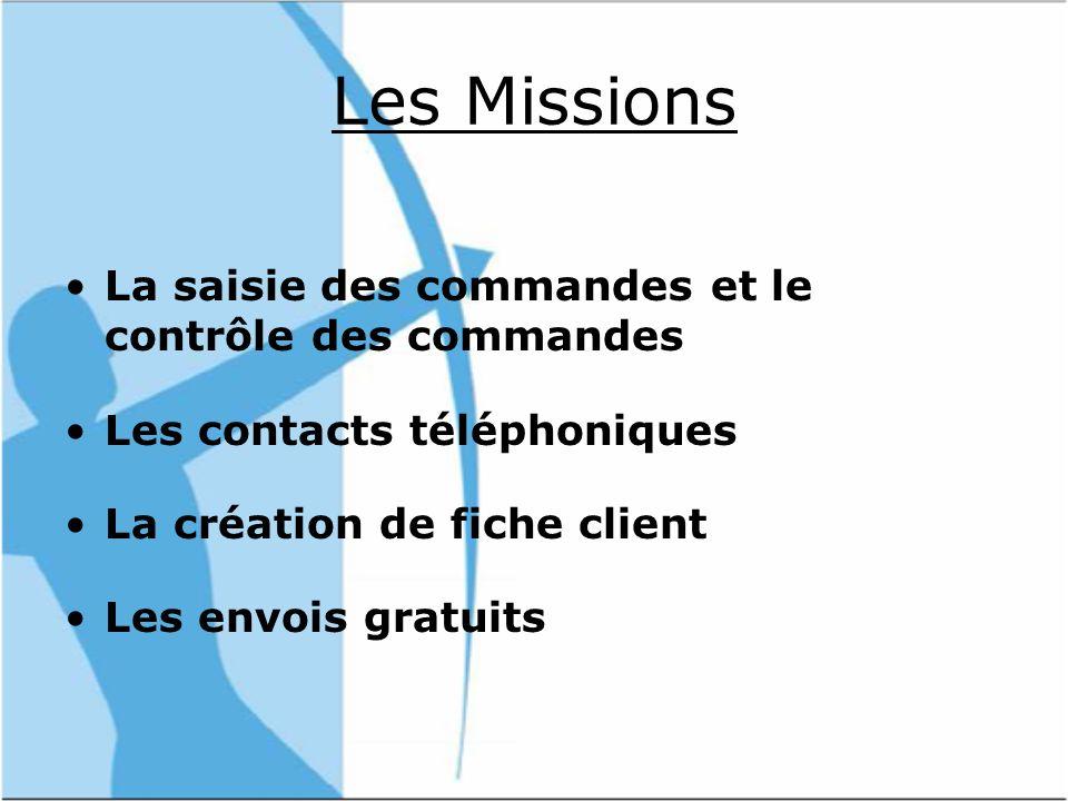 Les Missions La saisie des commandes et le contrôle des commandes Les contacts téléphoniques La création de fiche client Les envois gratuits