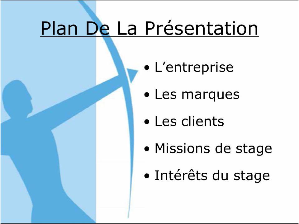 Plan De La Présentation Lentreprise Les marques Les clients Missions de stage Intérêts du stage