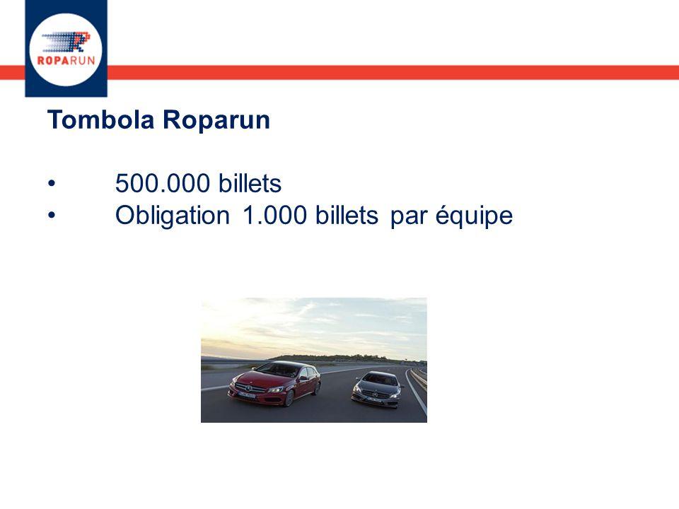 Tombola Roparun 500.000 billets Obligation 1.000 billets par équipe