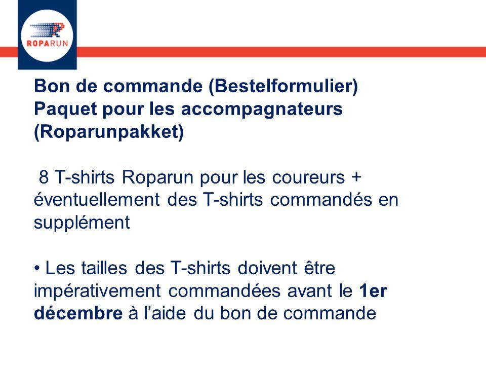 Bon de commande (Bestelformulier) Paquet pour les accompagnateurs (Roparunpakket) 8 T-shirts Roparun pour les coureurs + éventuellement des T-shirts c