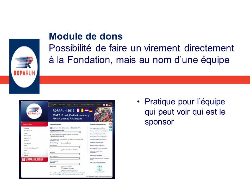 Pratique pour léquipe qui peut voir qui est le sponsor Module de dons Possibilité de faire un virement directement à la Fondation, mais au nom dune éq