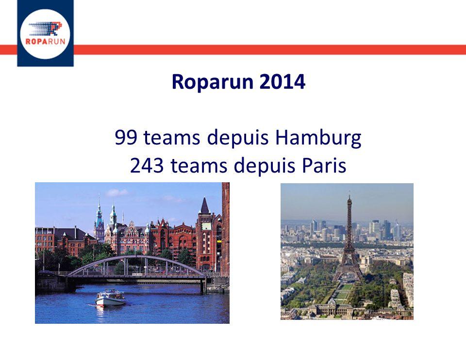 Roparun 2014 99 teams depuis Hamburg 243 teams depuis Paris