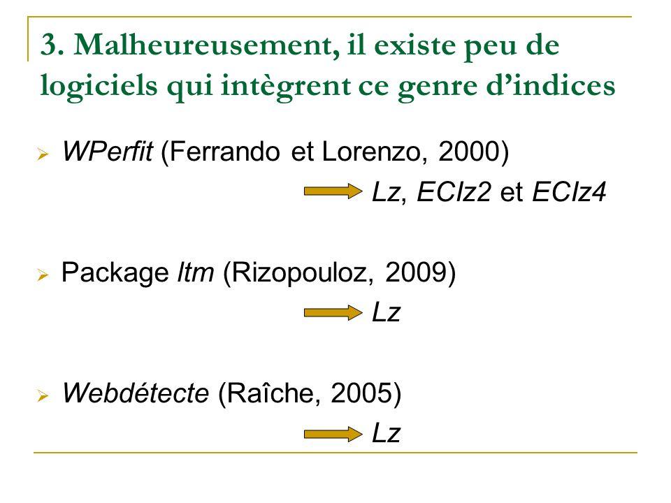 3. Malheureusement, il existe peu de logiciels qui intègrent ce genre dindices WPerfit (Ferrando et Lorenzo, 2000) Lz, ECIz2 et ECIz4 Package ltm (Riz