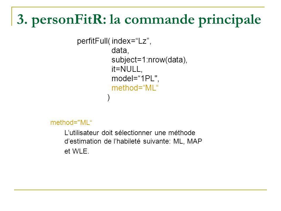 3. personFitR: la commande principale perfitFull( index=Lz, data, subject=1:nrow(data), it=NULL, model=1PL