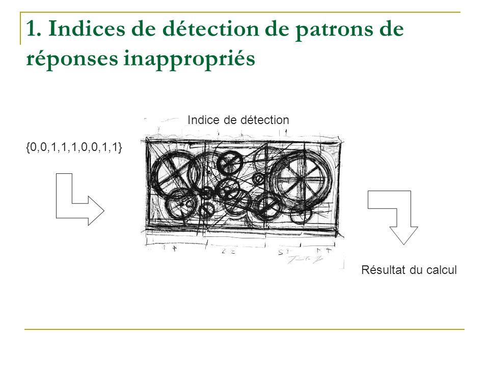 1. Indices de détection de patrons de réponses inappropriés Indice de détection {0,0,1,1,1,0,0,1,1} Résultat du calcul