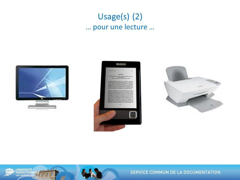 Usage(s) (2) … pour une lecture …