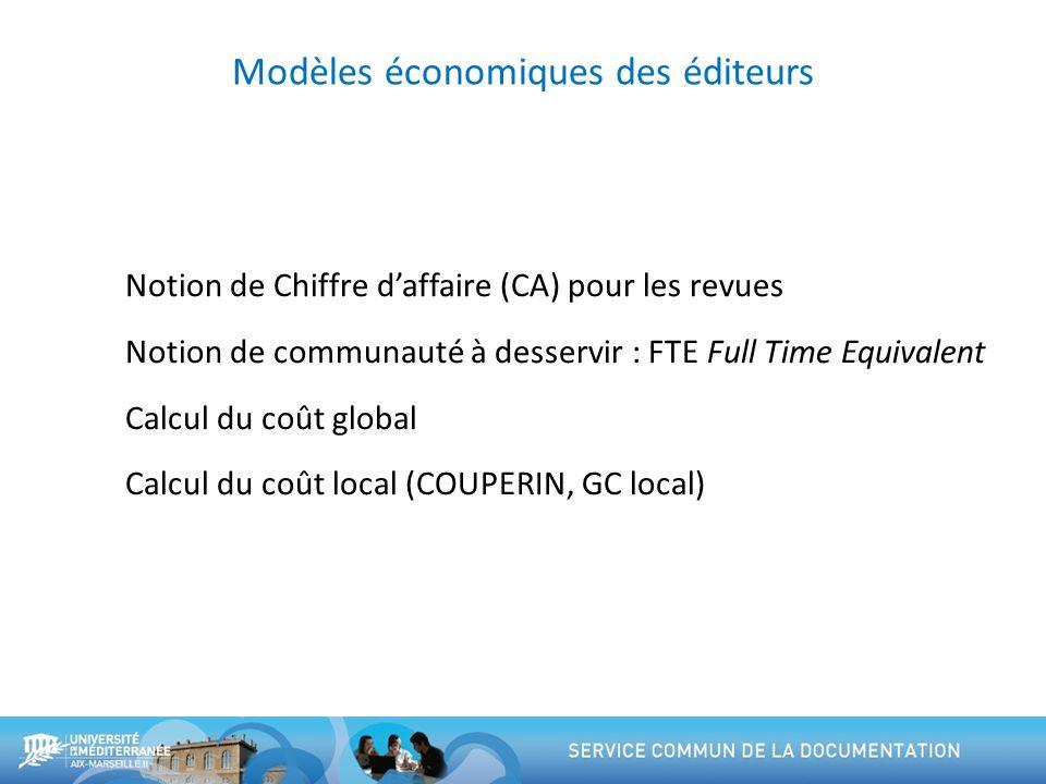 Modèles économiques des éditeurs Notion de Chiffre daffaire (CA) pour les revues Notion de communauté à desservir : FTE Full Time Equivalent Calcul du