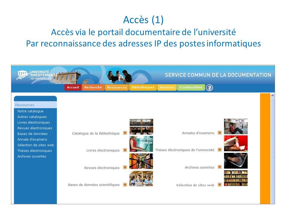 Accès (1) Accès via le portail documentaire de luniversité Par reconnaissance des adresses IP des postes informatiques