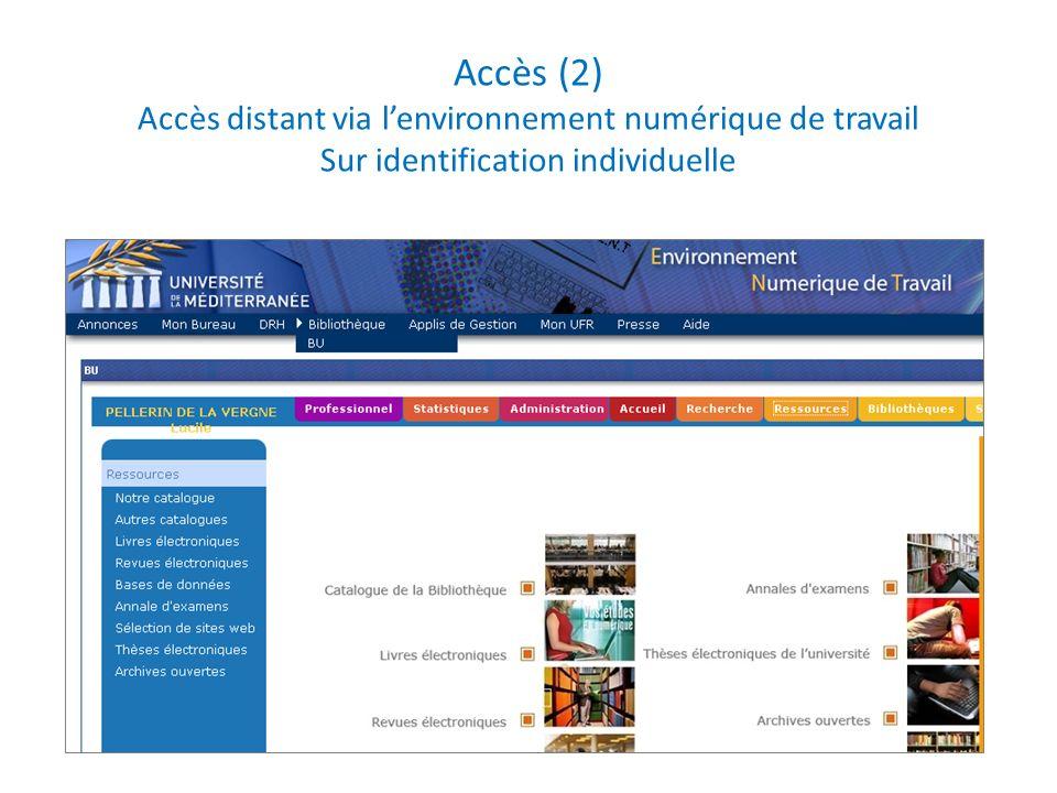 Accès (2) Accès distant via lenvironnement numérique de travail Sur identification individuelle
