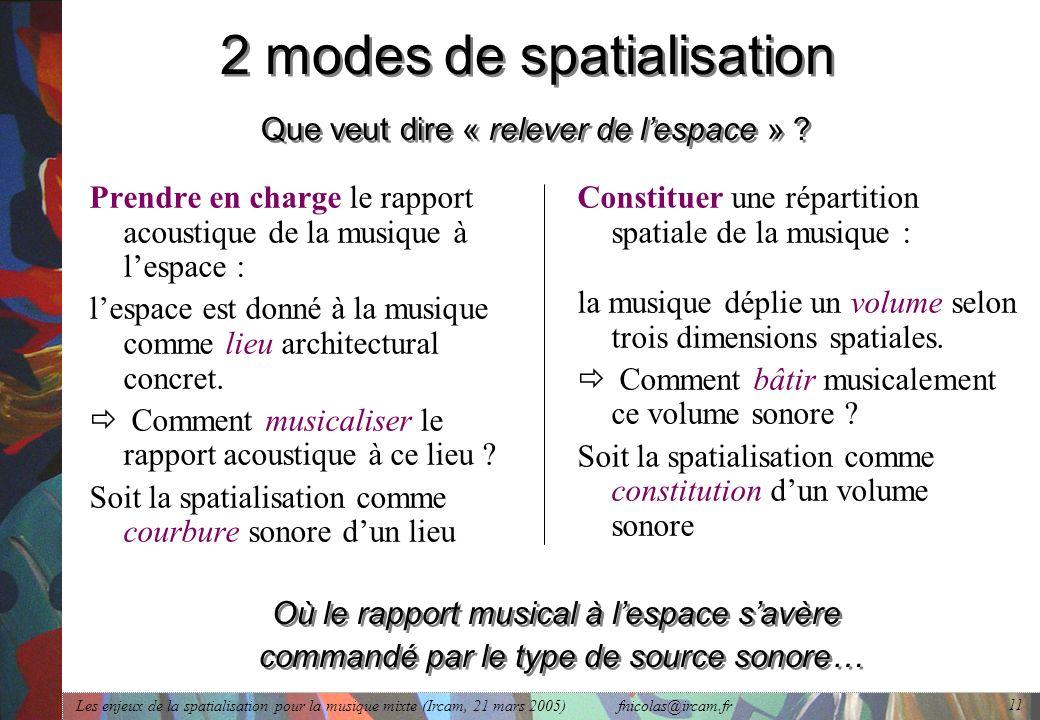 Les enjeux de la spatialisation pour la musique mixte (Ircam, 21 mars 2005) fnicolas@ircam.fr 11 2 modes de spatialisation Que veut dire « relever de