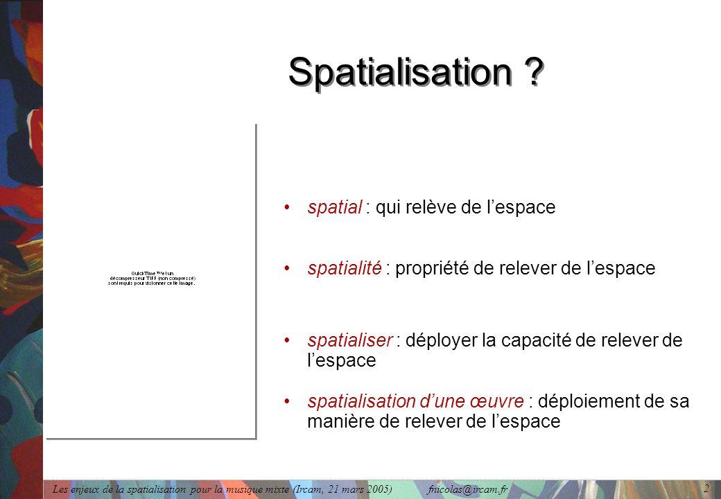 Les enjeux de la spatialisation pour la musique mixte (Ircam, 21 mars 2005) fnicolas@ircam.fr 2 Spatialisation ? spatialité : propriété de relever de