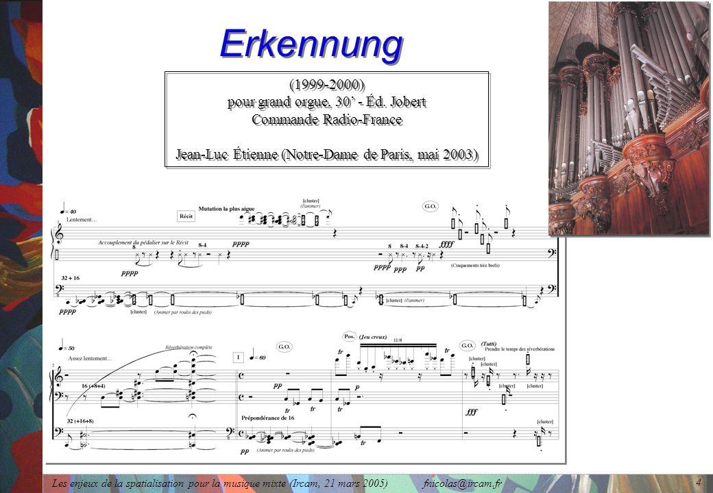 Les enjeux de la spatialisation pour la musique mixte (Ircam, 21 mars 2005) fnicolas@ircam.fr 4 Erkennung (1999-2000) pour grand orgue, 30 - Éd. Jober