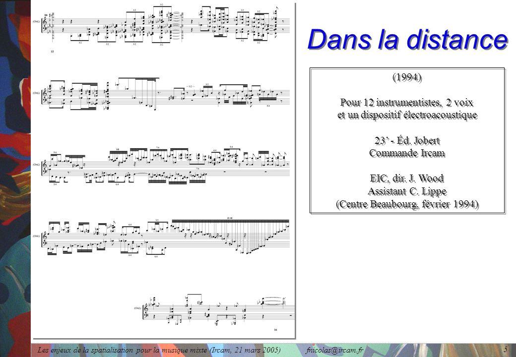 Les enjeux de la spatialisation pour la musique mixte (Ircam, 21 mars 2005) fnicolas@ircam.fr 5 Dans la distance (1994) Pour 12 instrumentistes, 2 voi