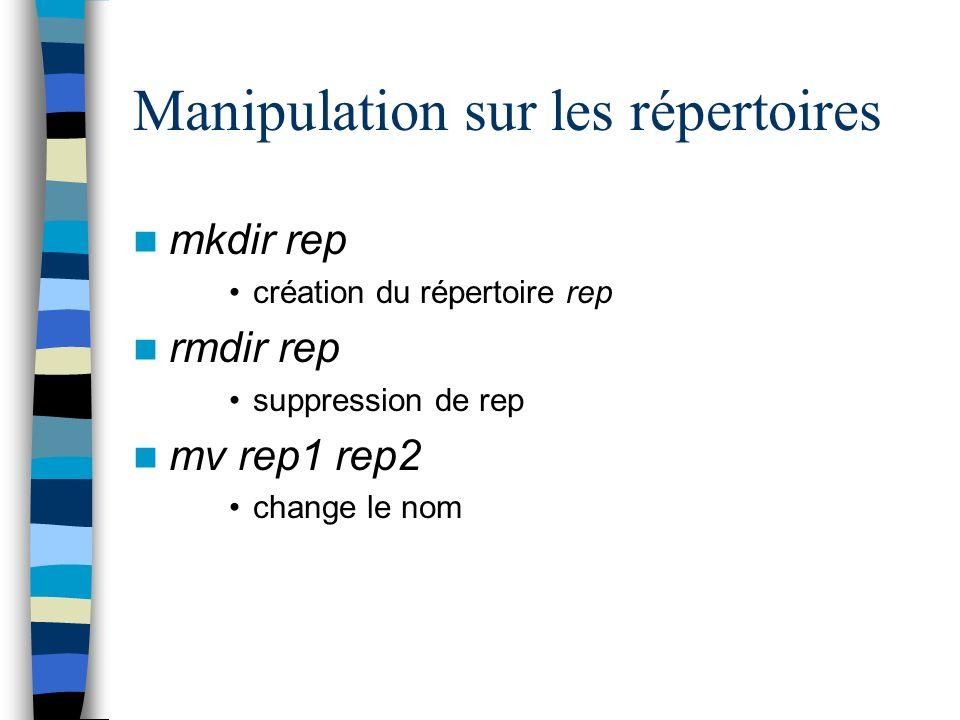 Manipulation sur les répertoires mkdir rep création du répertoire rep rmdir rep suppression de rep mv rep1 rep2 change le nom
