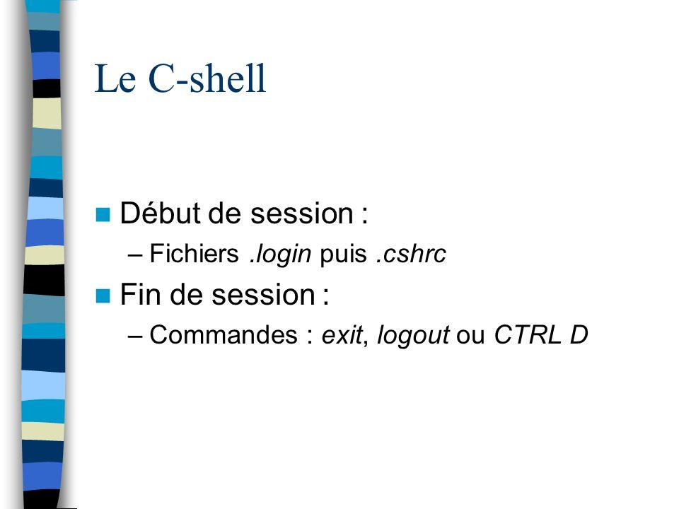 Le C-shell Début de session : –Fichiers.login puis.cshrc Fin de session : –Commandes : exit, logout ou CTRL D