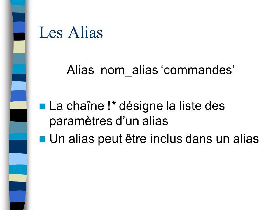 Les Alias Alias nom_alias commandes La chaîne !* désigne la liste des paramètres dun alias Un alias peut être inclus dans un alias