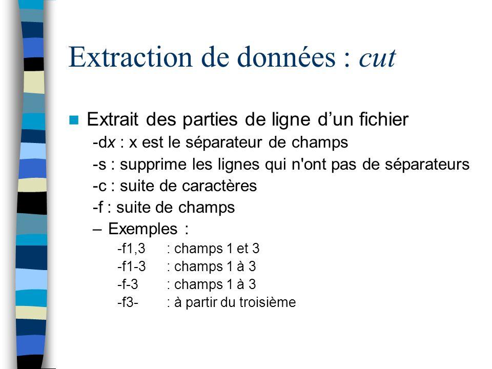 Extraction de données : cut Extrait des parties de ligne dun fichier -dx : x est le séparateur de champs -s : supprime les lignes qui n ont pas de séparateurs -c : suite de caractères -f : suite de champs –Exemples : -f1,3: champs 1 et 3 -f1-3 : champs 1 à 3 -f-3 : champs 1 à 3 -f3- : à partir du troisième
