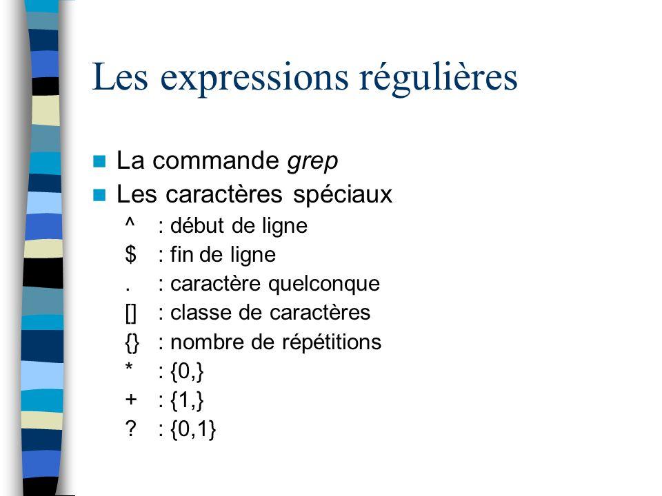 Les expressions régulières La commande grep Les caractères spéciaux ^: début de ligne $ : fin de ligne.