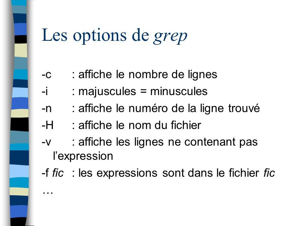 Les options de grep -c : affiche le nombre de lignes -i : majuscules = minuscules -n : affiche le numéro de la ligne trouvé -H : affiche le nom du fichier -v : affiche les lignes ne contenant pas lexpression -f fic : les expressions sont dans le fichier fic …
