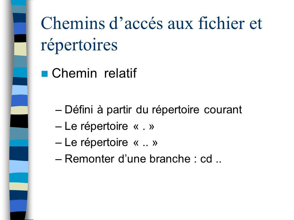 Chemins daccés aux fichier et répertoires Chemin relatif –Défini à partir du répertoire courant –Le répertoire «.