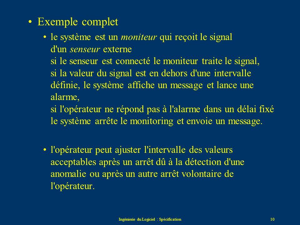 Ingénierie du Logiciel : Spécification9 Etat_A Etat_C Etat_B événement_1 événement_3/Action_Y événement_1 événement_2/Action_X trigger : event[conditi